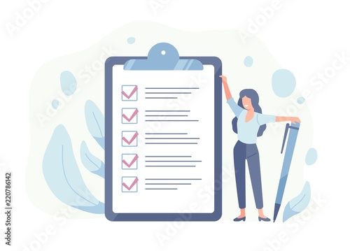 Fototapeta Happy woman standing beside giant check list and holding pen. Concept of successful completion of tasks, effective daily planning and time management. Vector illustration in flat cartoon style. obraz