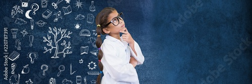 Fotomural  School girl scientist and Education drawing on blackboard for