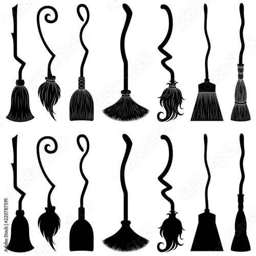 Fototapeta Set of different witch brooms isolated on white
