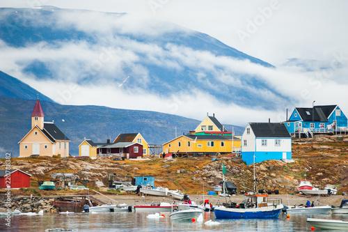 Deurstickers Poolcirkel Sea port in Saqqaq village, western Greenland