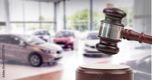Gavel and cars auction Canvas Print