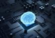 canvas print picture - 3D Illustration Gehirn Computer