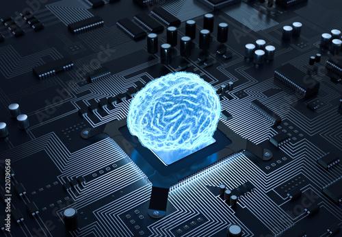 Cuadros en Lienzo 3D Illustration Gehirn Computer