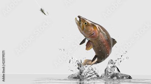 Obraz na plátne Freshwater trout bass image for sport fishing tournament