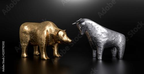 Fotografie, Obraz  3D Stier und Bär schwarzer Hintergrund