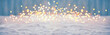 canvas print picture - Abstract magic winter landscape with snow and golden bokeh lights - Banner, Panorama