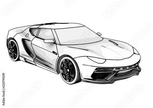 Stampa su Tela sketch of a sports car vector