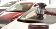 canvas print picture - Gavel and cars auction