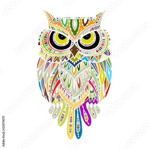Photo Stands Owls cartoon Ornate owl, zenart for your design