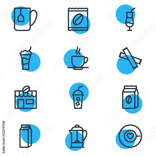 Fotografie, Obraz  Vector illustration of 12 java icons line style
