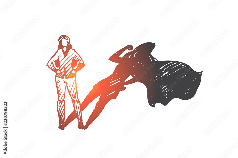 Fototapeta Superwoman, self-esteem, businessman, potential concept. Hand drawn isolated vector.