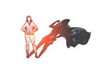 Superwoman, Self-esteem, Businessman, Potential Concept. Hand Drawn Isolated Vector.