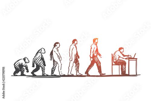 Obraz na płótnie Evolution, businessman, programmer, primitive concept