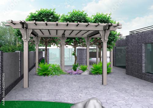 Fotografia, Obraz Home patio and horticultural background, 3D rendering