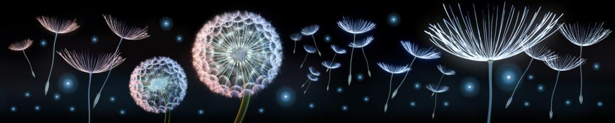 Panel Szklany Podświetlane Panorama Pusteblumen und Glühwürmchen