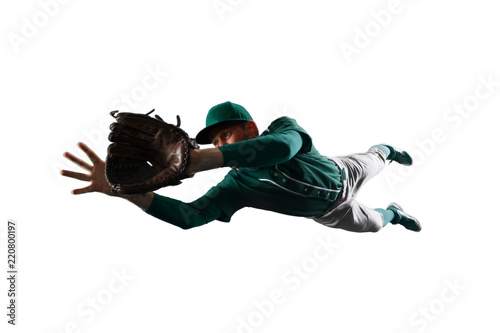 Fotografiet  Isolated Baseball shortstop catches the ball on white background