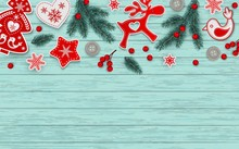 Abstract Christmas Background, Red And White Stylized Scandinavian Decorations
