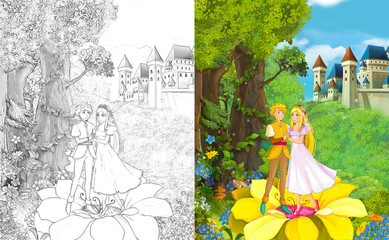 cartoon scene with young elf couple standing in the forest on a flower near majestic castle - illustration for children