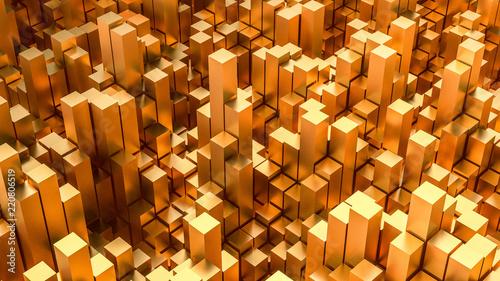 zlote-tlo-z-formami-gemmetric-3d-ilustracja-3d-rendering