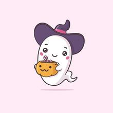 Cute Kawaii Ghost Wearing Witc...