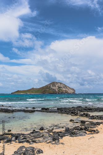 Rabbit Island view from the beach, Oahu, Hawaii