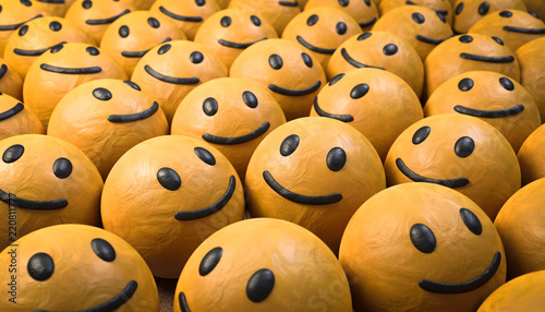 Photographie  3D Illustration glückliche Gesichte
