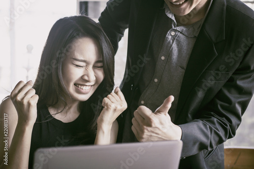 boss admire employee, good job and excellent work concept Canvas Print