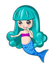 Cute Little Mermaid Girl With Lush Blue Hair, Children's Print