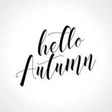 Hello Autumn - Lettering Text. Hand Drawn Vector Illustration. Good For Social Media, Scrap Booking, Posters, Greeting Cards, Banners, Textiles, Gifts, Shirts, Mugs Or Other Gifts.