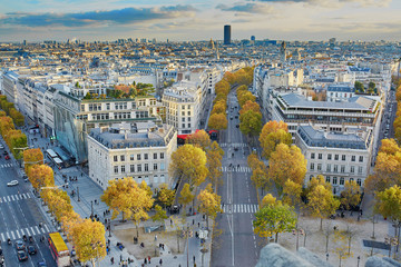 Fototapeta Paryż Aerial panoramic cityscape view of Paris, France