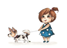 Little Girl walking With Her Dog On White Background, Watercolor Illustration.