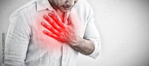 Composite image of casual young man with chest pain Fototapet
