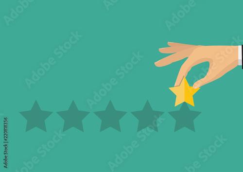 Hand pointing rating golden stars. Feedback, icon. Vector Illustration. Customer feedback concept.