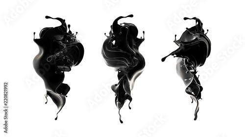 Splash of black liquid. 3d illustration, 3d rendering.