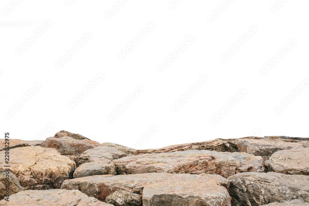 Fototapeta Brown landscape stones isolated on white background. Element of natural design.