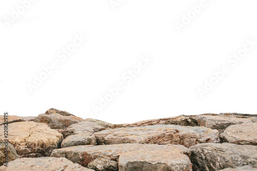 Valokuvatapetti Brown landscape stones isolated on white background