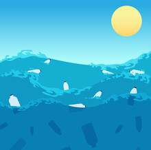 Ocean Plastic Pollution. Polluted Sea Water With Bottles And Dead Fishes. Ecological Enviroment Problem Vector Concept. Illustration Of Plastic Bottle In Water Ocean