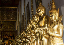 Row Of Golden Buddhas Statue At Wat Den Salee Sri Muang Gan (Wat Ban Den), Mae Taeng, Chiang Mai, Thailand, 11 - Aug - 2018