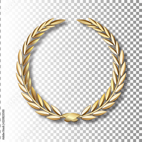 Photo  Vector gold laurel wreath.Laurel wreath with golden ribbon.