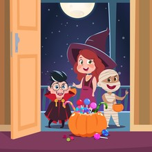 Halloween Trick Or Treat Background. Kids In Halloween Costumes With Candies In Doorway. Spooky October Holliday Vector Concept. Illustration Of Holiday Celebration, Zombie And Mummy