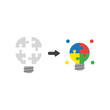 Vector icon concept of light bulb jigsaw puzzle pieces connected and glowing