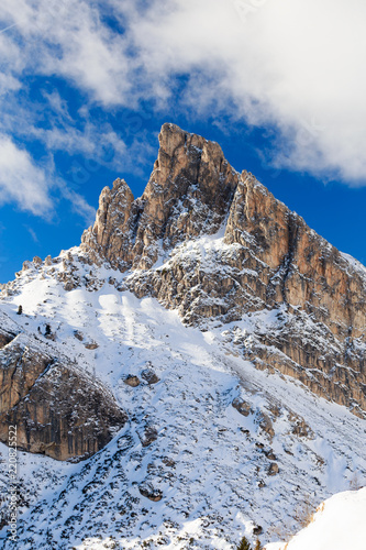 Fotografie, Tablou  Magical dolomites mountains with white sun and snow
