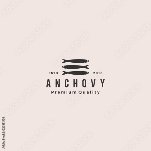 anchovy fish logo hipster vintage retro label emblem packaging vector icon seafo Canvas Print