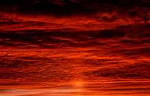 Beautiful Landscape Of Red Clouds In The Sky