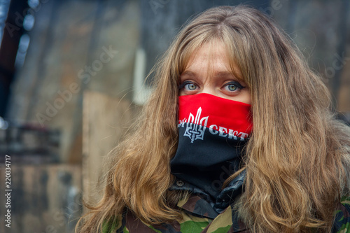 Deurstickers Kiev A girl from the right sector during demonstrations on EuroMaidan. Kiev