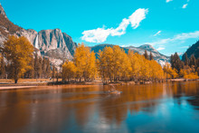 Merced River Running Through Yosemite Valley, Yosemite National Park, California, United States