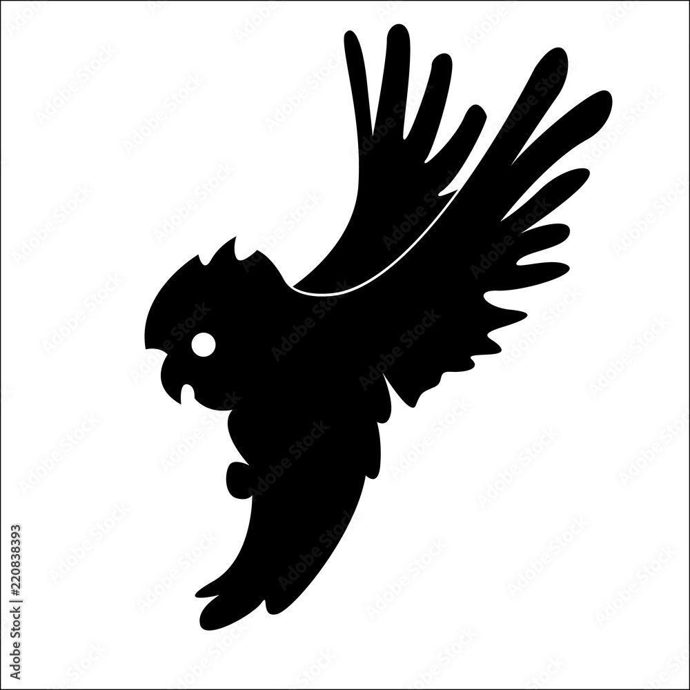Logo, an owl icon flying up. Shadow of an owl, a black shape with straightened wings