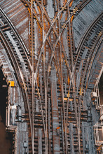 Aerial View Of Elevated Train Tracks And Crossings In The Loop, Chicago, Illinois, United States