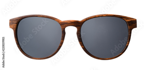 Front view of  wood sunglasses