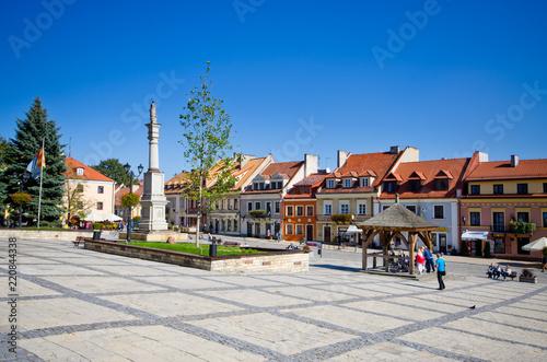 Obraz Town square of Sandomierz, Poland - fototapety do salonu